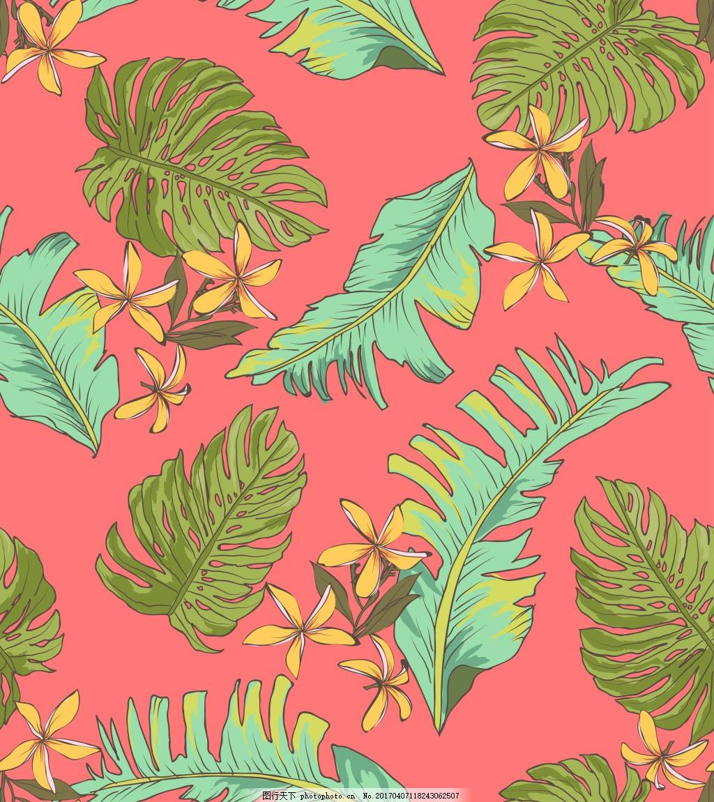 手绘热带雨林树叶背景 手绘花卉 花卉 花卉花朵 唯美花卉 手绘植物