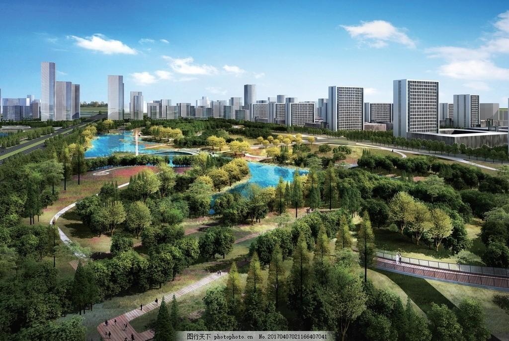 河道整治效果图_公园设计鸟瞰图图片_3D作品设计_3D设计_图行天下图库