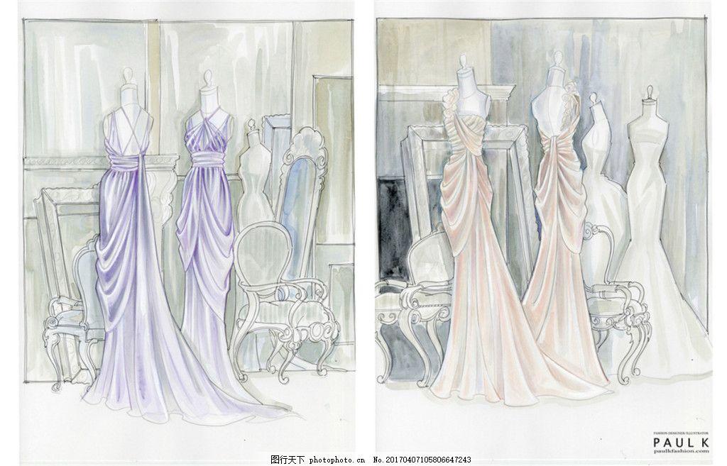 多款婚纱长裙设计图