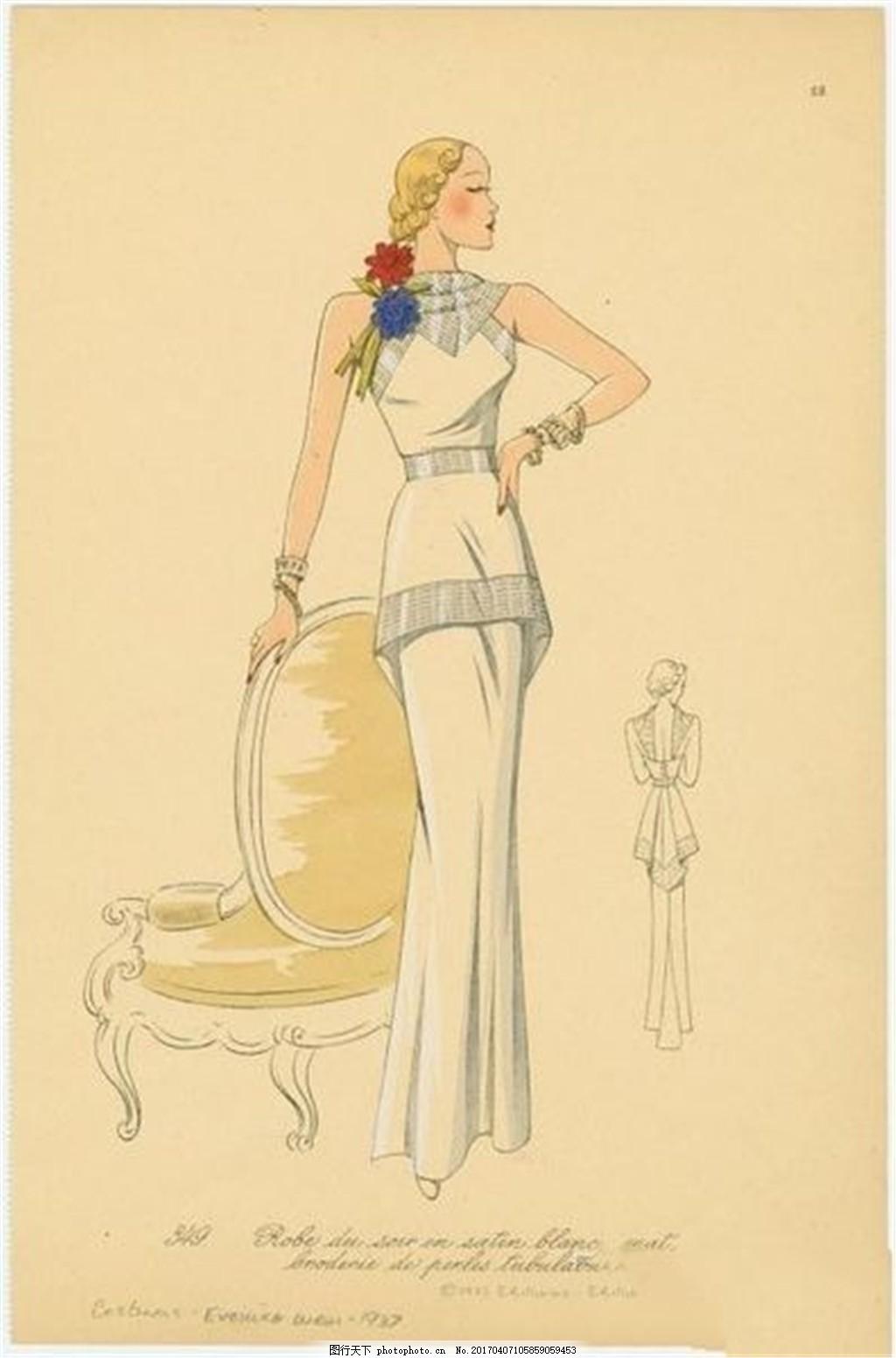 欧式白色长裙设计图 时尚女装 职业女装 女装设计效果图 服装图片免费