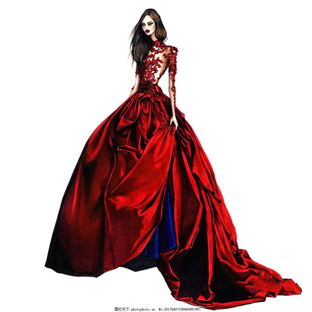 红色长裙礼服设计图