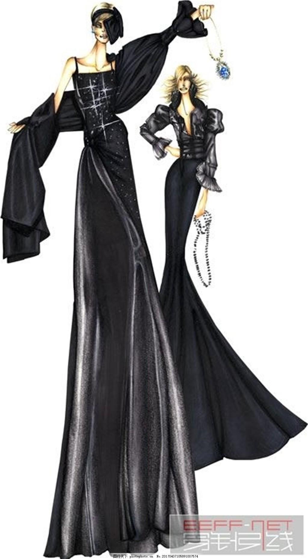 2款黑色长裙礼服设计图