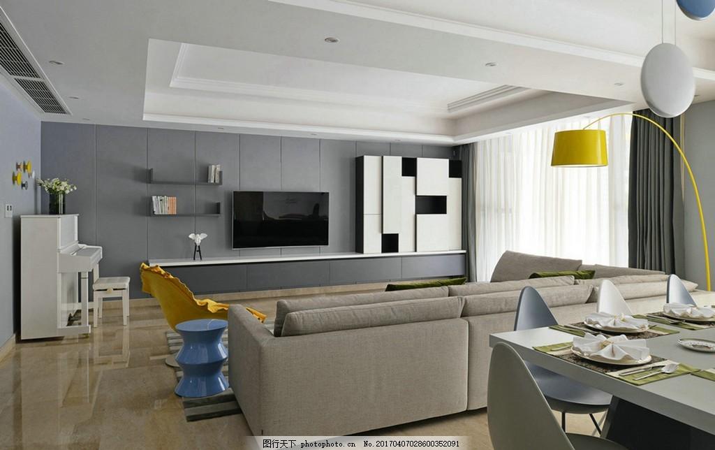 港式 室内设计 时尚客厅 家装效果图 沙发 餐桌 电视背景墙