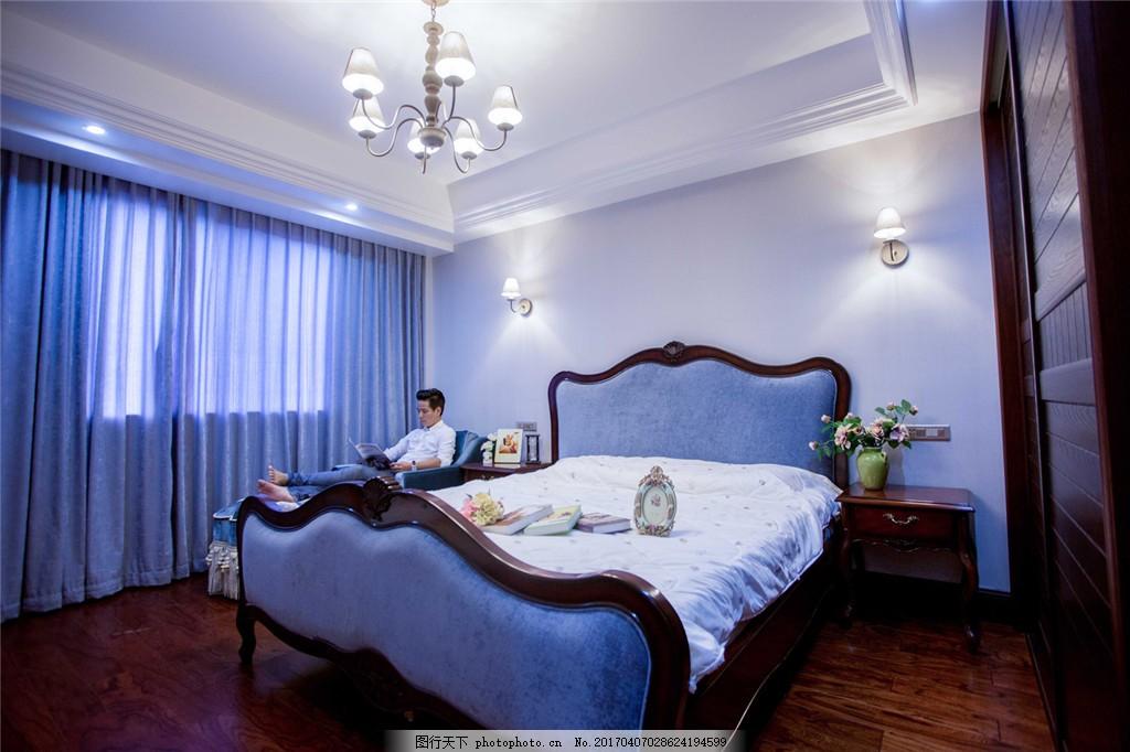 美式蓝色卧室设计图 家居 家居生活 室内设计 装修 家具 装修设计图片