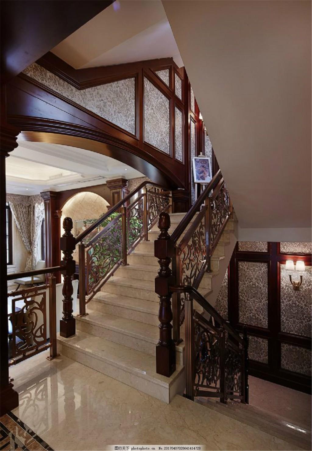 现代美式别墅楼梯间装修效果图 室内设计 家装效果图 美式装修效果图