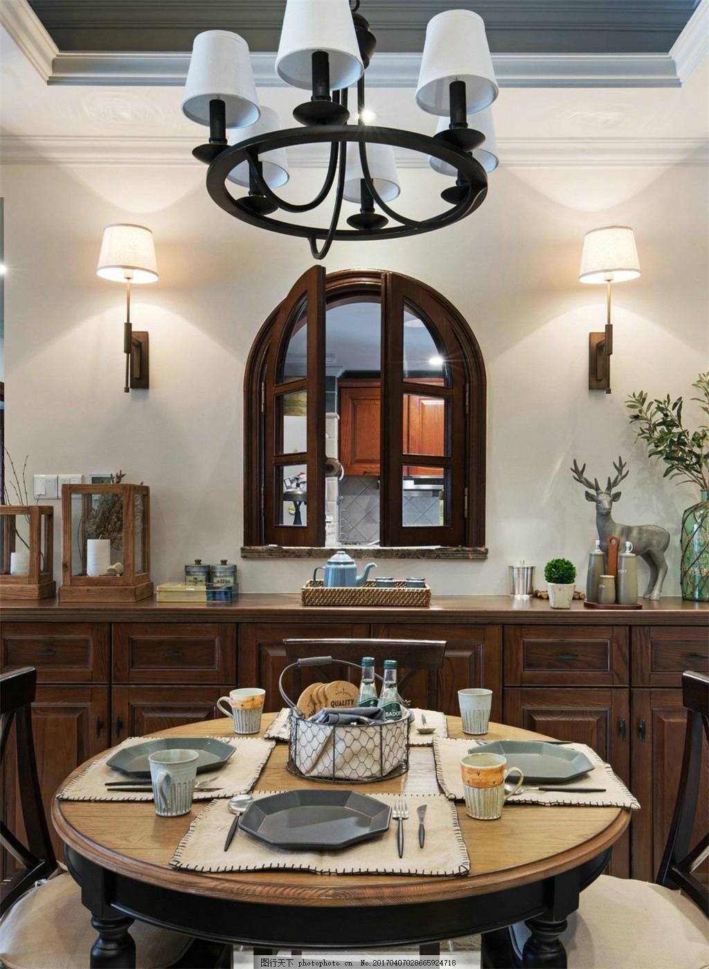 美式复古餐厅设计图 家居 家居生活 室内设计 装修 家具 装修设计图片