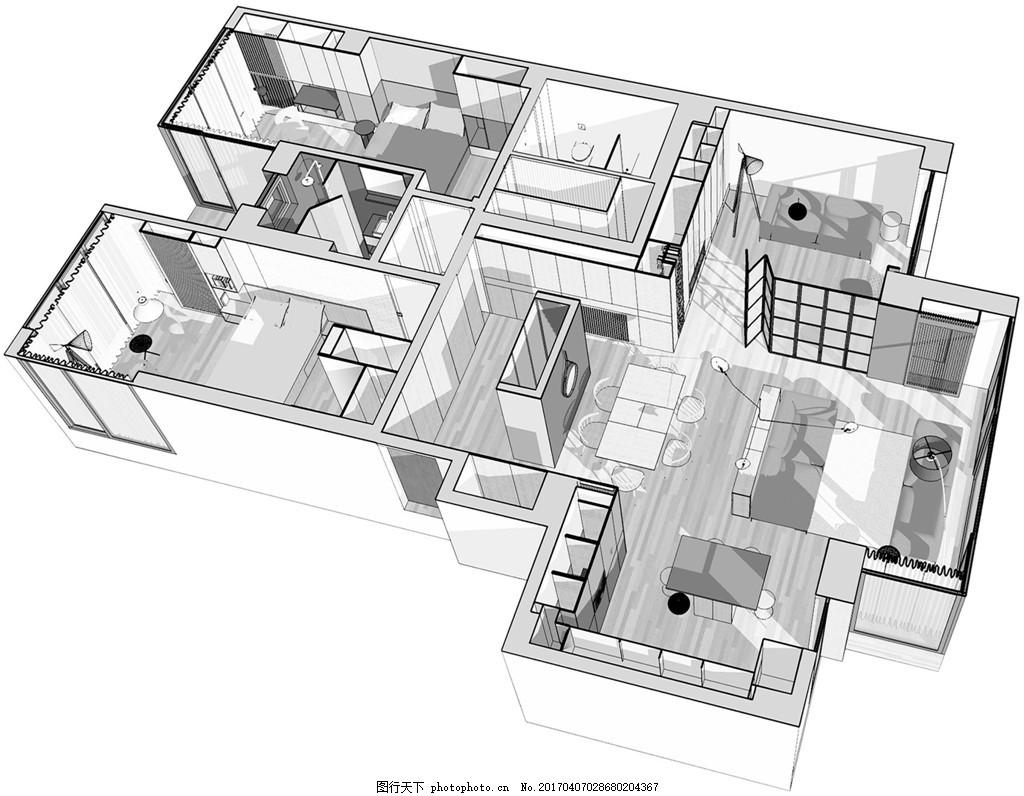 北欧简约室内装修设计手稿图 家居 家居生活 室内设计 家具 时尚