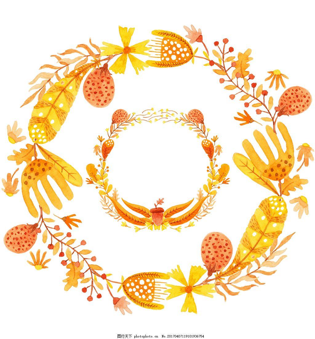唯美秋季水彩花环 水彩花卉 手绘花卉 花卉花朵 唯美花卉 水彩植物