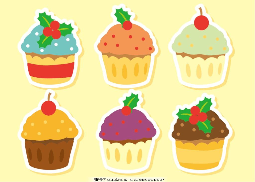 扁平化手绘蛋糕 手绘糖果 手绘食物 手绘美食 甜品 手绘甜点 矢量素材