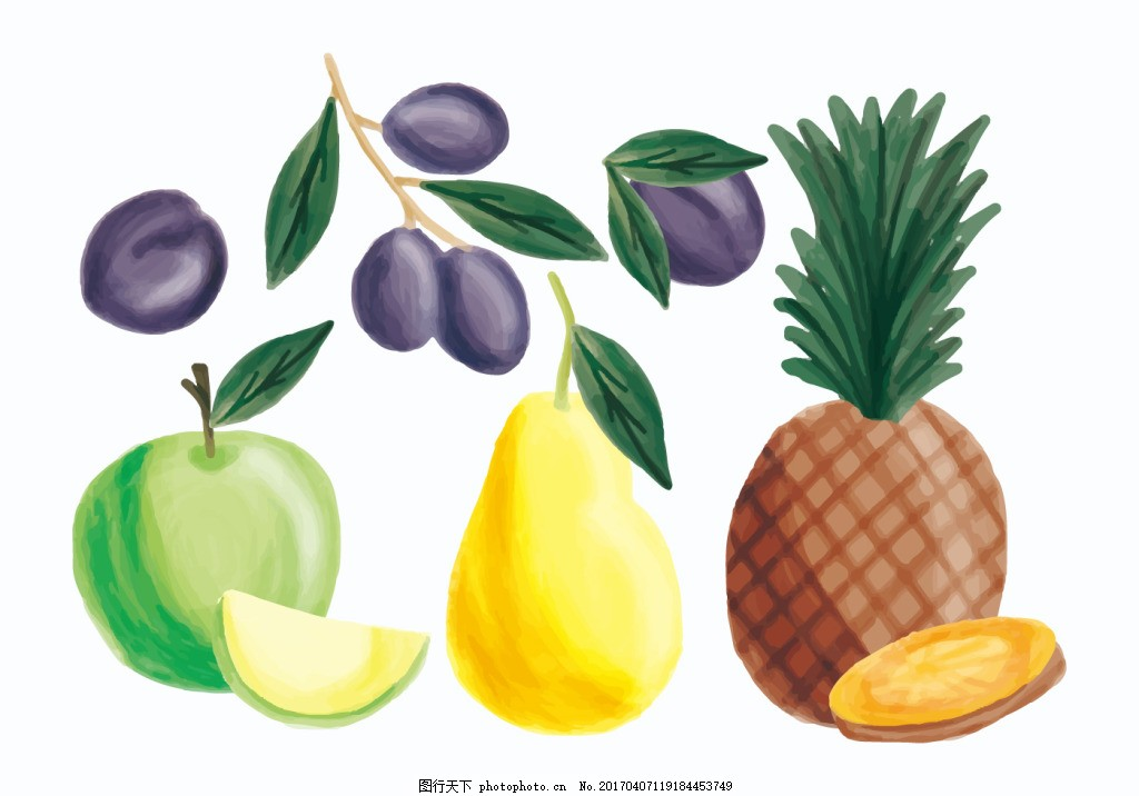 手绘彩铅水果素材