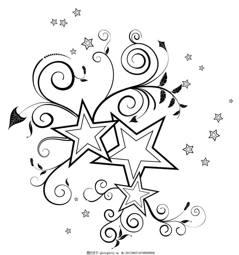 矢量线稿五角星背景素材