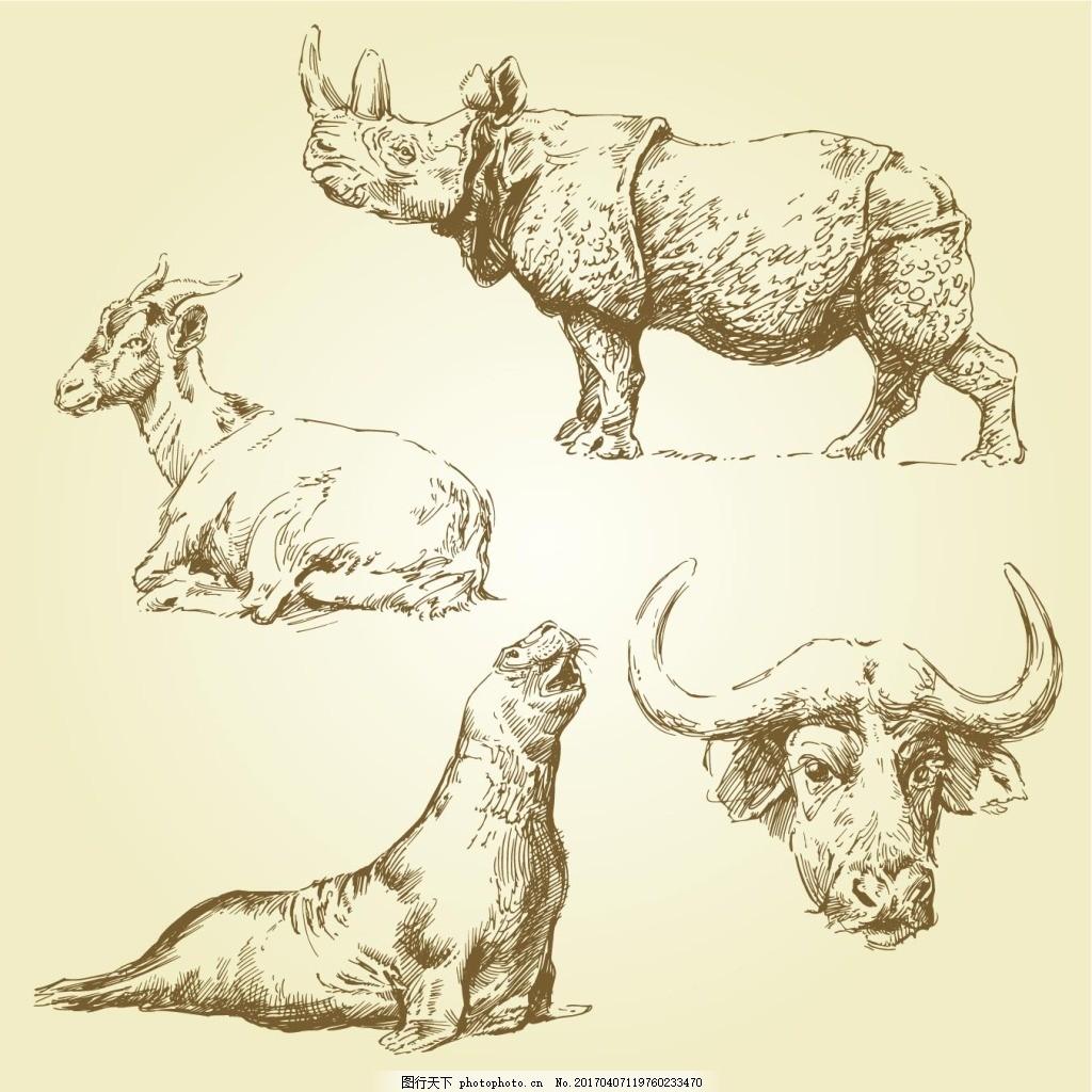 手绘野生动物矢量素材下载
