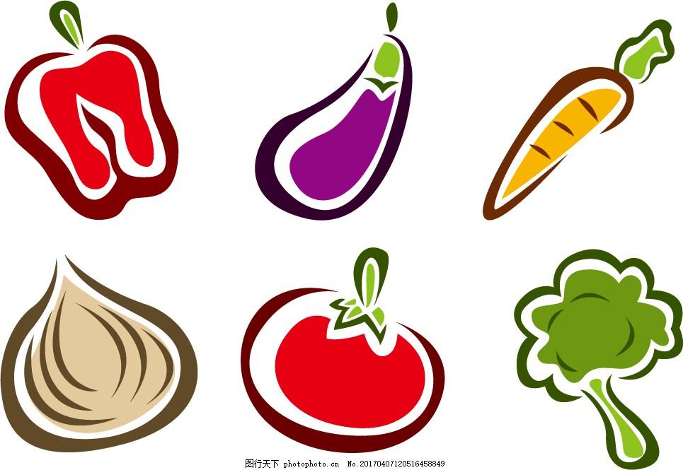 手绘蔬菜 食物图标 扁平化食物 美食 美食插画 矢量素材 美食图标
