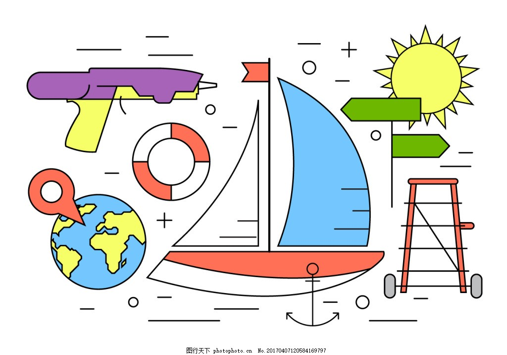 手绘线性度假图标 假期 夏季 夏季素材 矢量素材 海滩 沙滩 度假插画