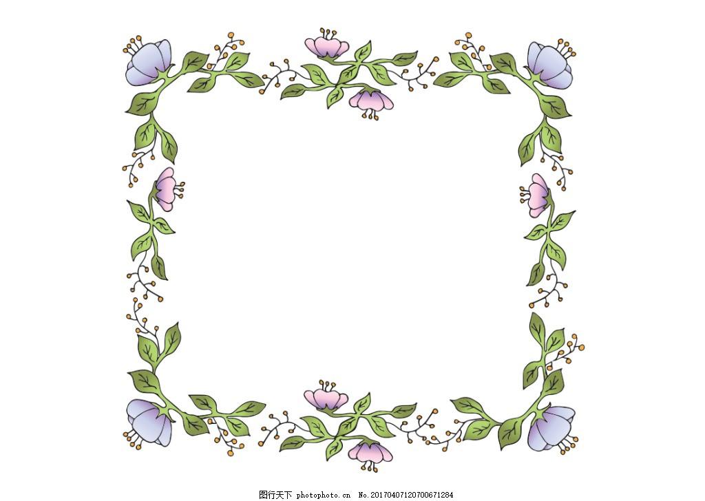 手绘花卉边框素材 花卉花环 树叶 手绘花环 矢量素材 手绘叶子