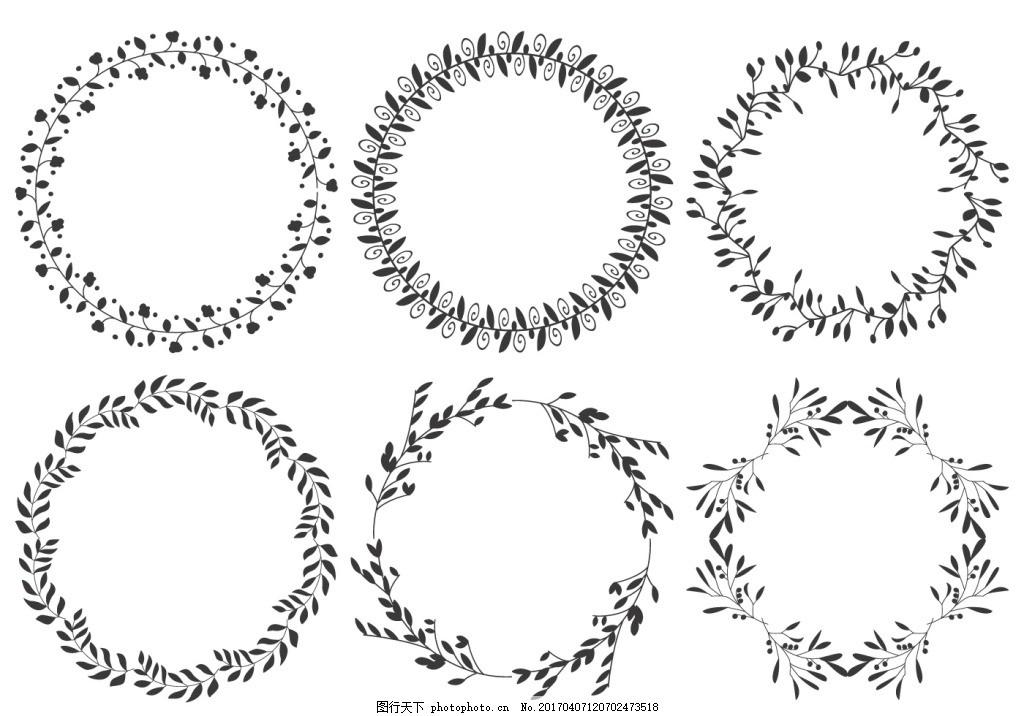 手绘花卉花环 花卉花朵 手绘植物 花环素材 矢量素材 边框