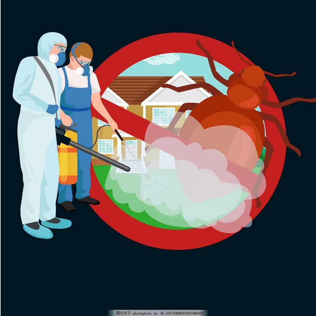 杀虫的消毒员 卡通人物 蟑螂 卡通插画图片