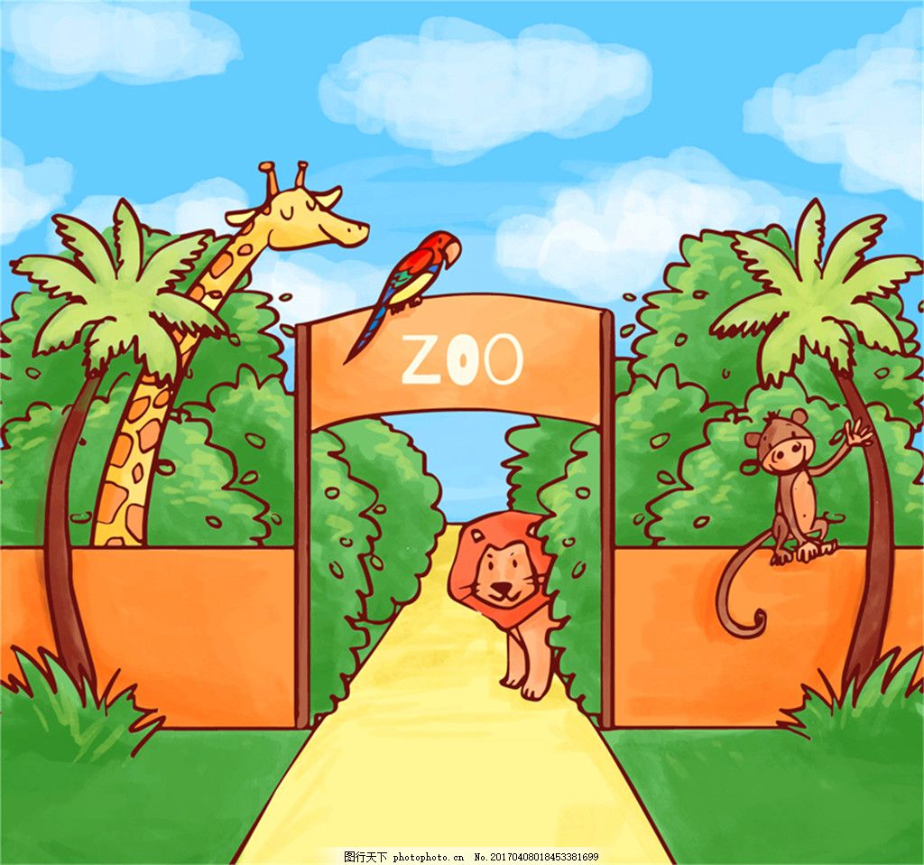 彩绘动物园大门和动物插画矢量素材 天空 云朵 狮子 长颈鹿 猴子