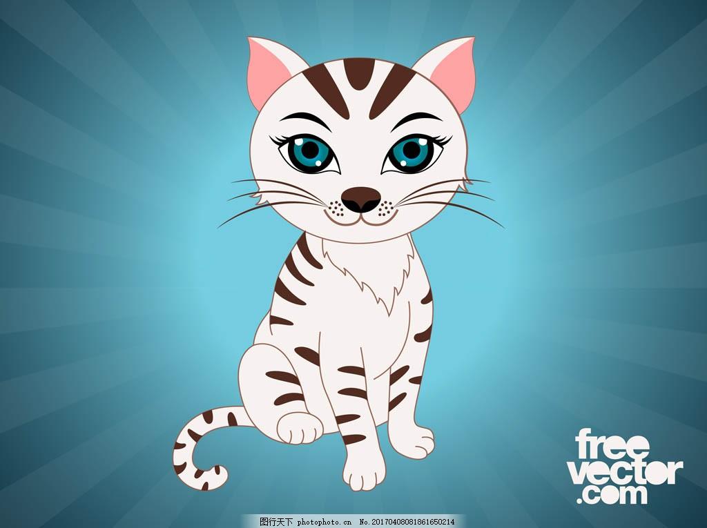 手绘可爱猫咪 卡通动物 动物素材 动物 手绘动物 矢量素材 扁平动物