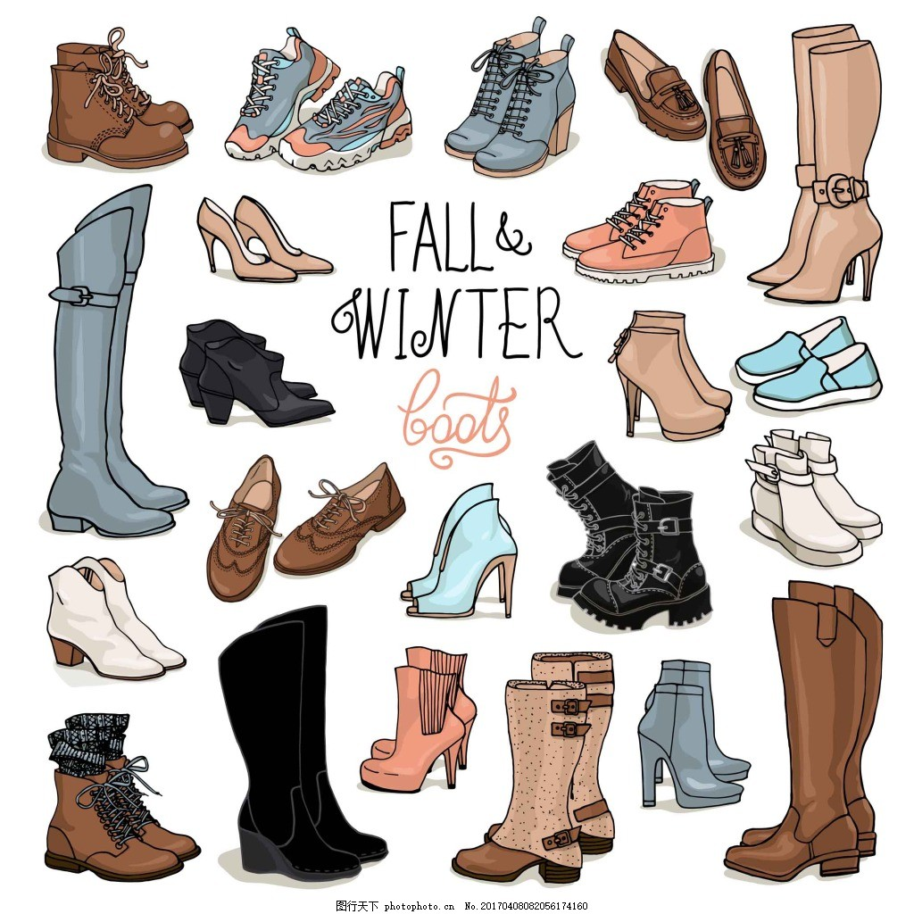 手绘时尚鞋子 卡通 靴子