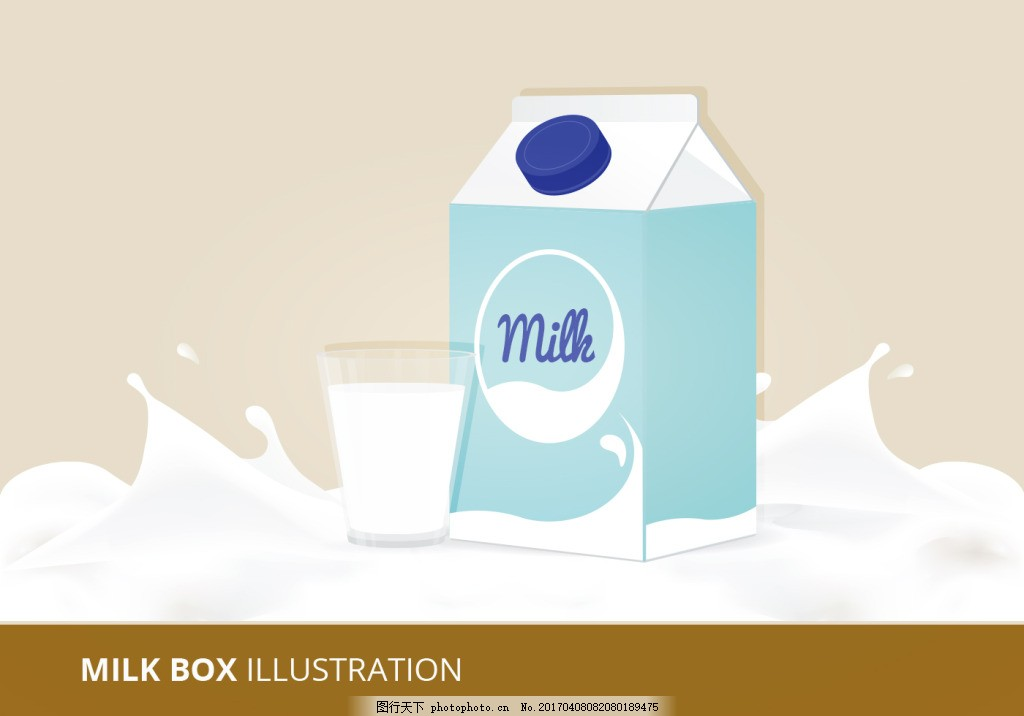 手绘食物 手绘美食 美食 矢量素材 牛奶 包装 盒子 包装盒 牛奶盒
