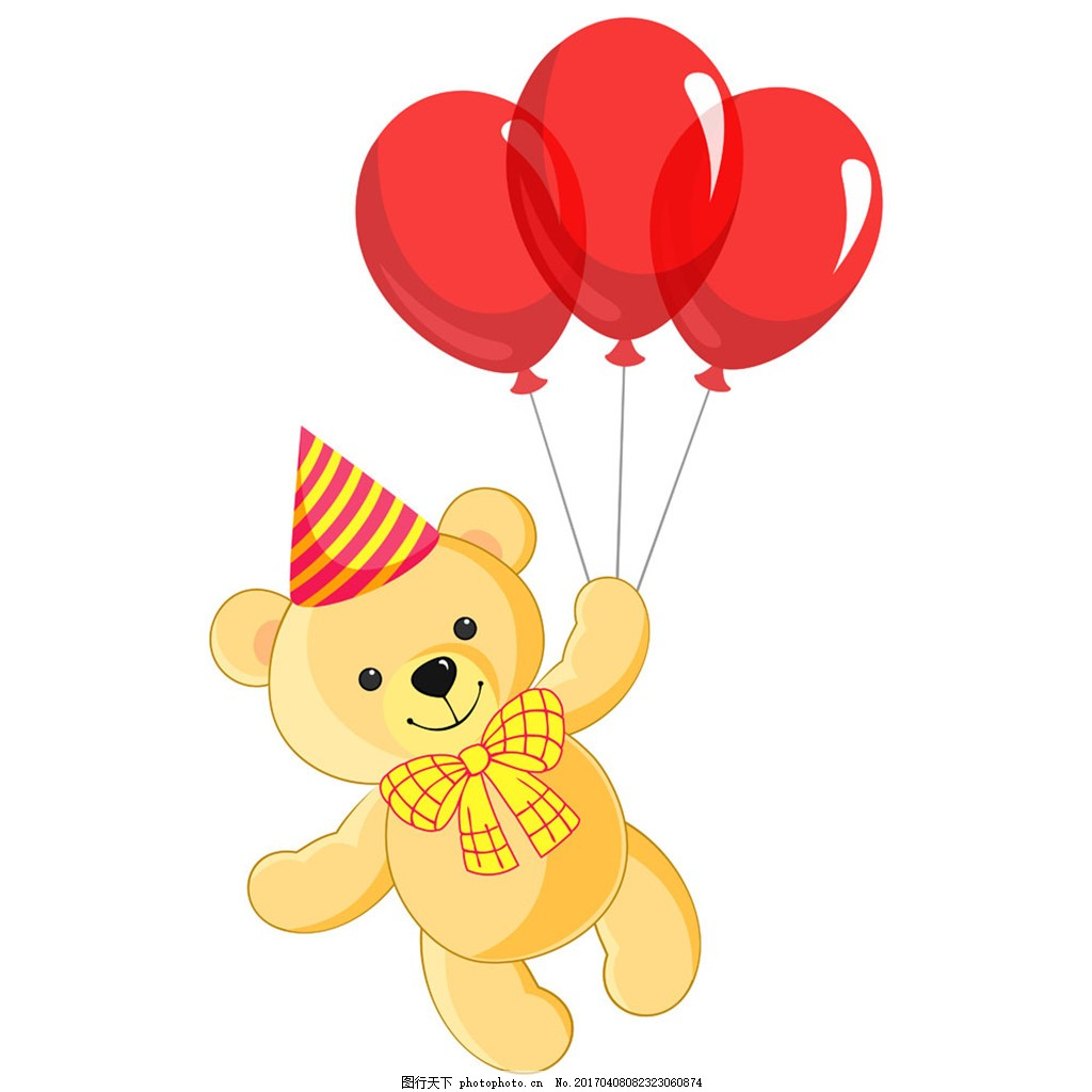 拿红色气球小熊 卡通熊 玩具熊 陆地动物 卡通动物 动物漫画 其他