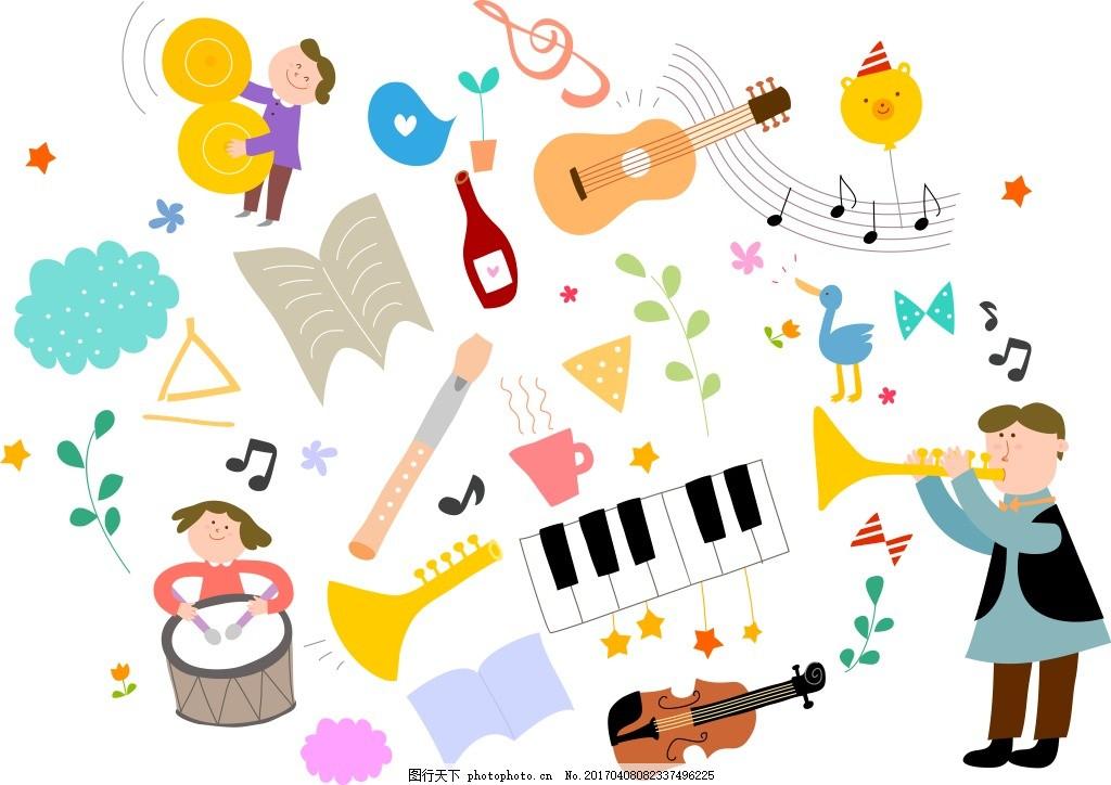 卡通乐器人物素材 卡通元素 矢量 卡通人物 吉他 小提琴 鼓 小号