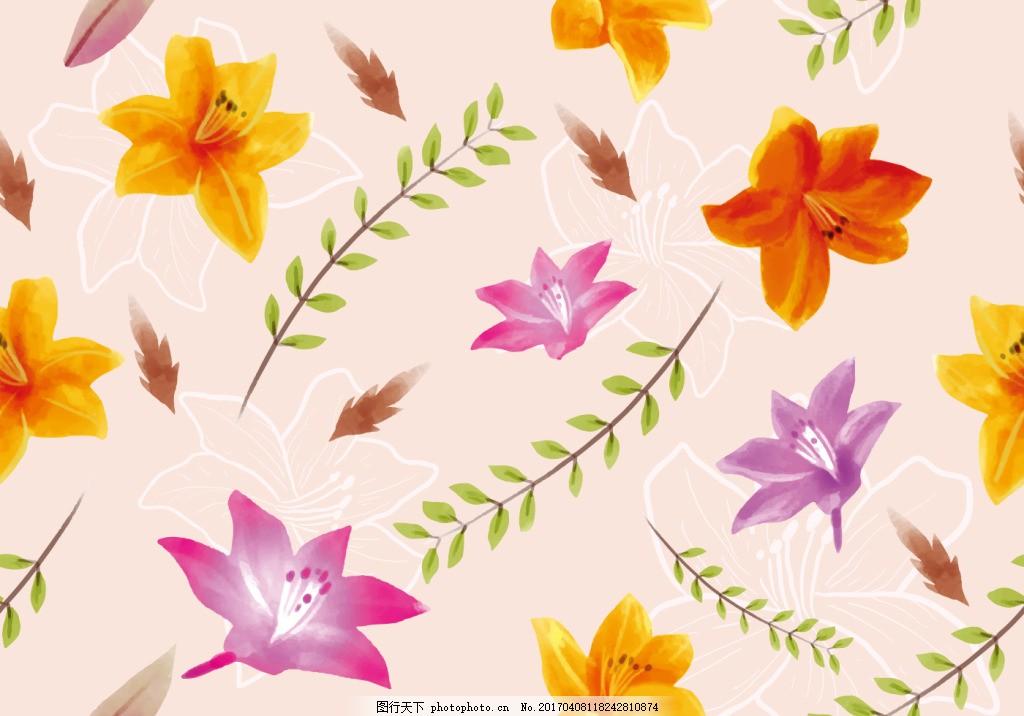 手绘彩铅唯美杜鹃花卉背景素材 手绘花卉 花卉插画 手绘插画 手绘植物