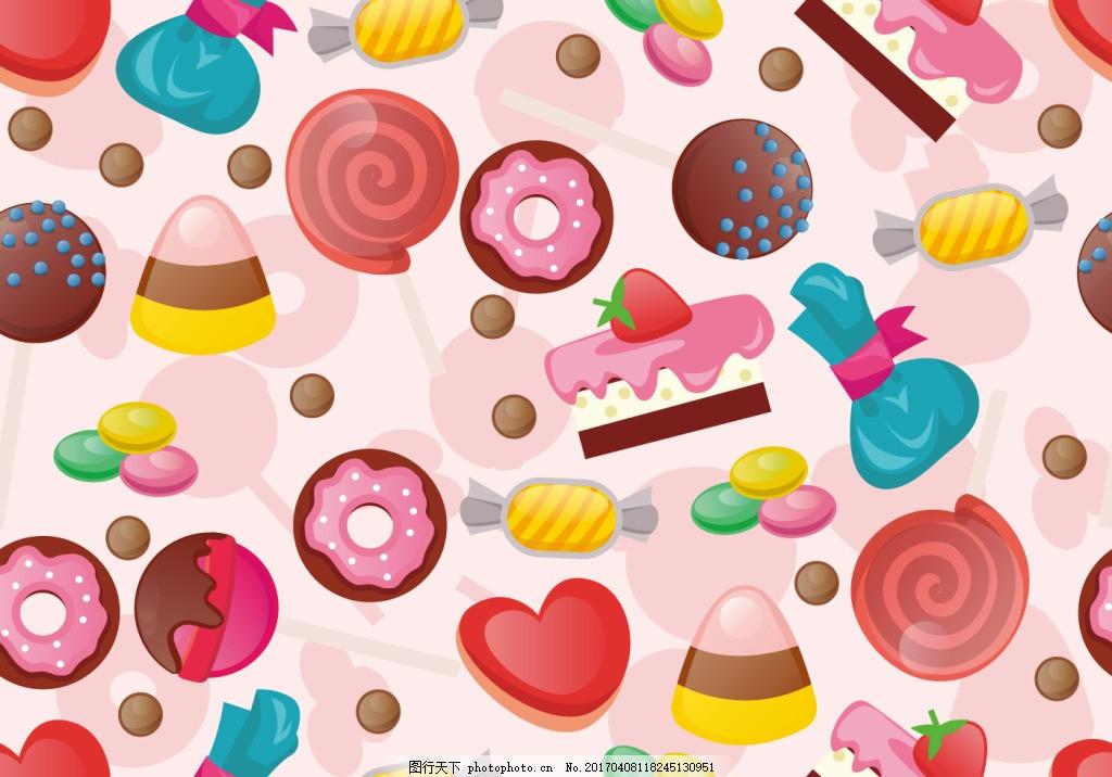 甜美可爱手绘糖背景,甜品 可爱背景 背景素材 糖果-图