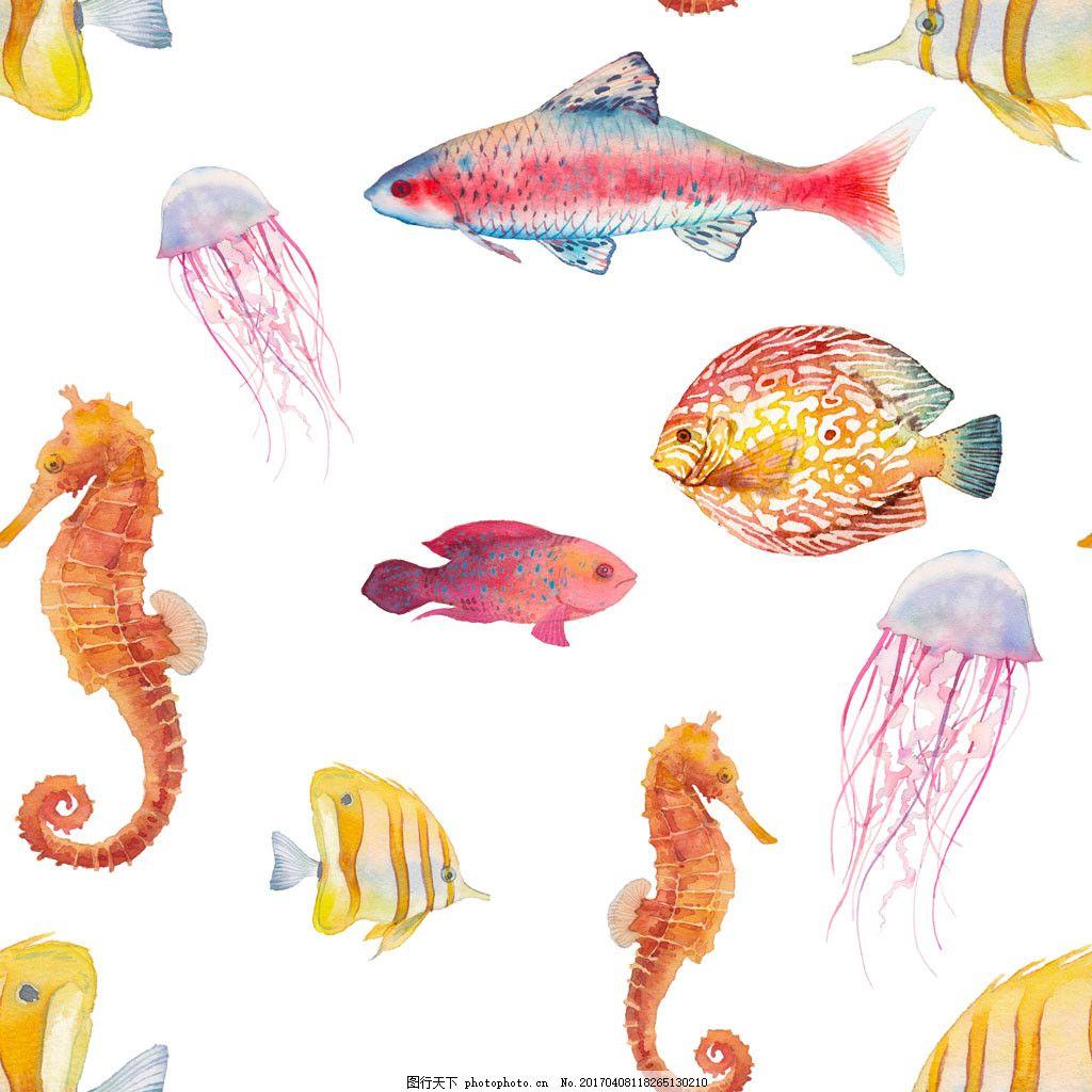 海洋动物水彩画 水彩海洋生物 彩色水墨海洋生物 海底动物 底纹背景