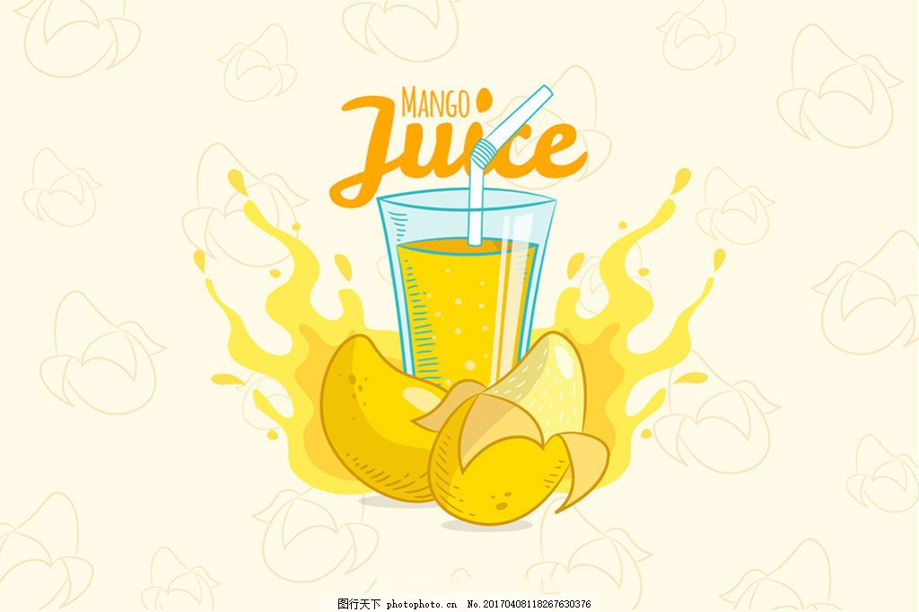手绘芒果汁背景