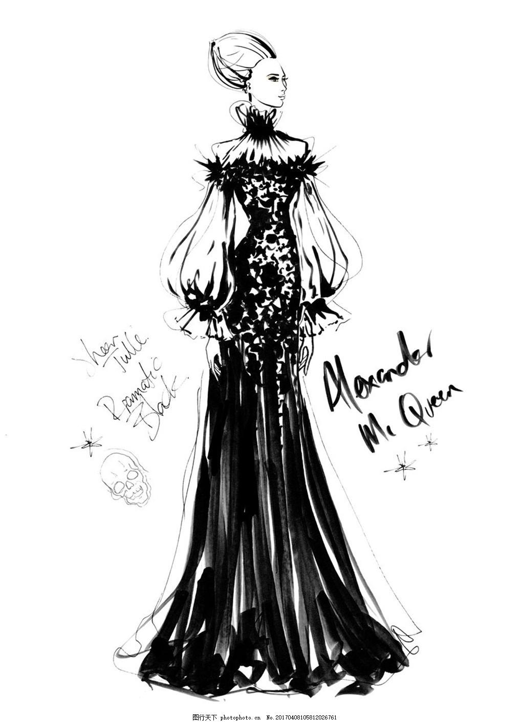 黑色长裙礼服设计图
