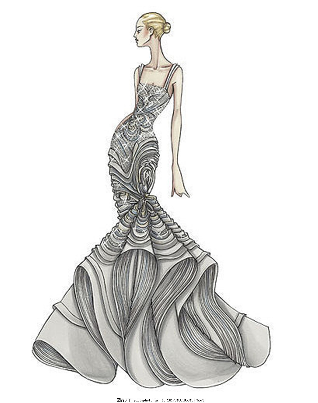 时尚婚纱长裙设计图