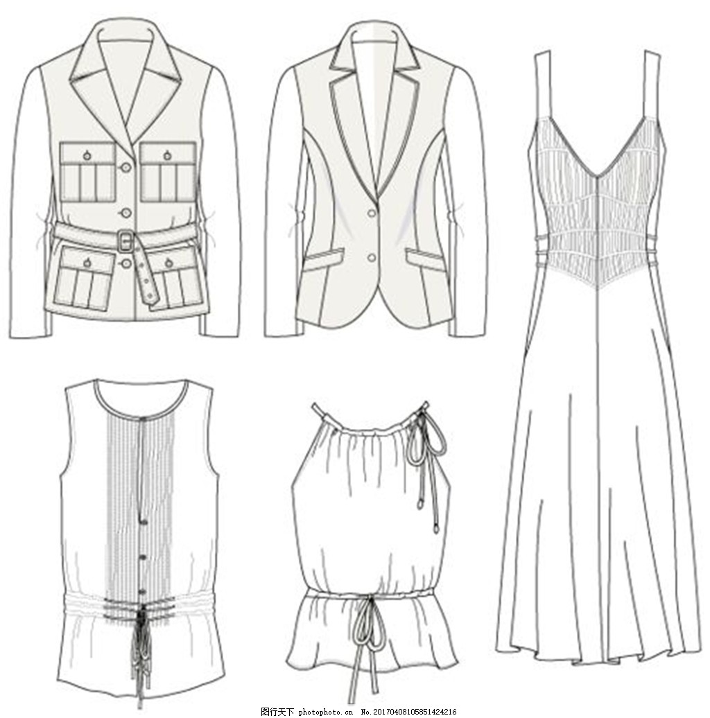 设计图库 现代科技 服装设计  5款女装设计图 服装设计 时尚女装 职业