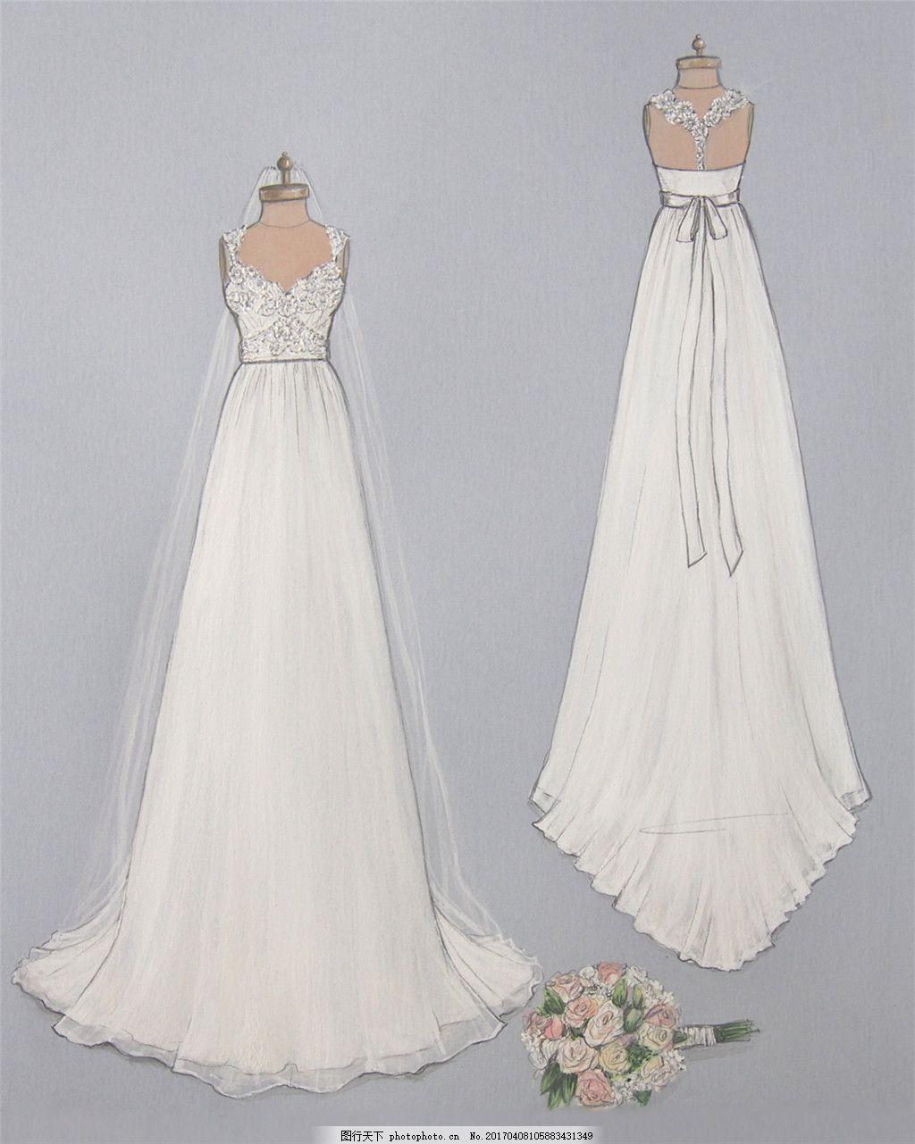 抹胸长裙婚纱设计图 服装设计 时尚女装 职业女装 职业装 女装设计