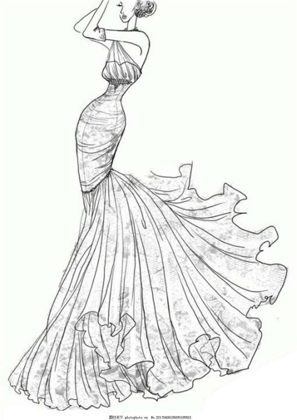 露背长裙礼服设计线稿图 服装设计 时尚女装 职业女装 职业装 女装