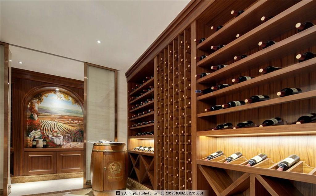 欧式 红酒 挂画 高贵 美味 室内设计 咖啡色 装潢设计 豪华酒柜