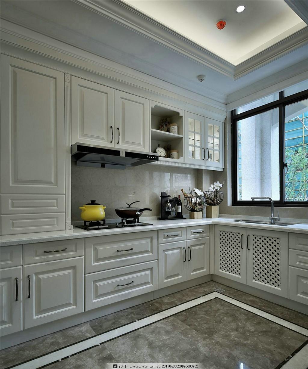 现代别墅开放式厨房装修效果图 室内设计 家装效果图 欧式装修效果图