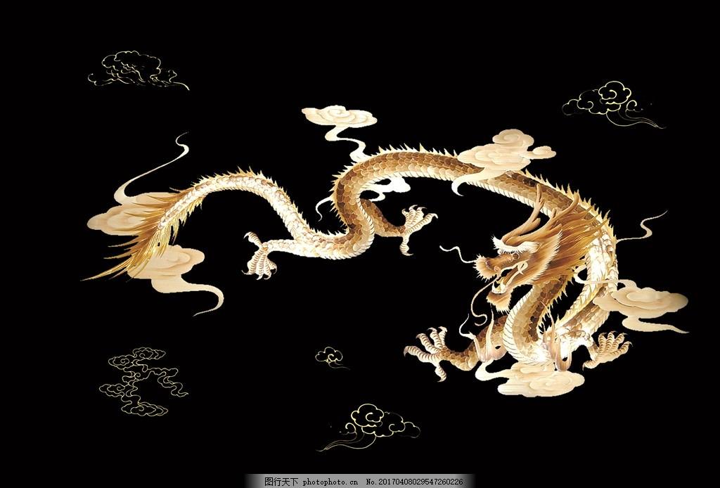 龙纹 鱼缸 壁纸 手绘 龙 设计 广告设计 广告设计 150dpi psd