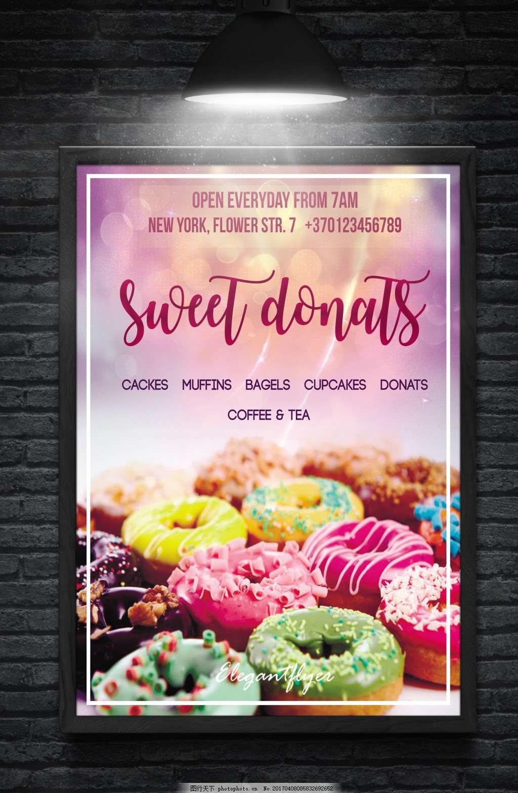 甜甜圈促销活动宣传海报 国外创意海报 传单 促销海报 淘宝背景
