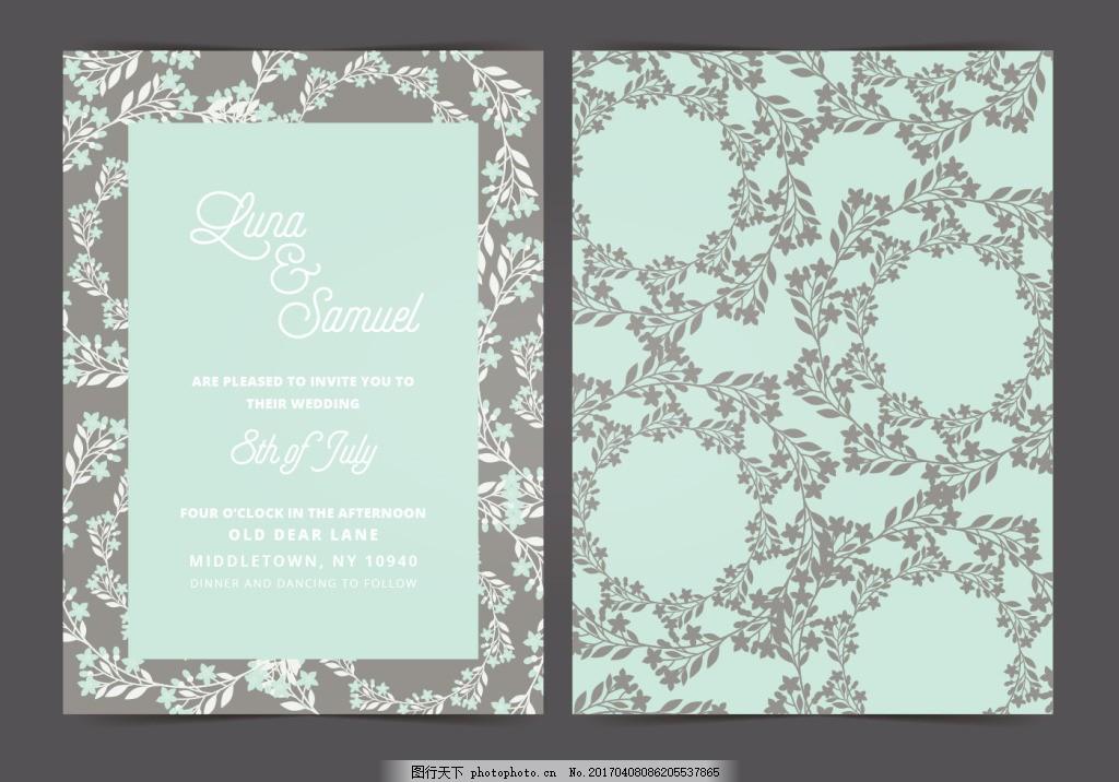 清新手绘花卉花环邀请卡 婚礼邀请函 邀请函 邀请卡 卡片 卡片设计