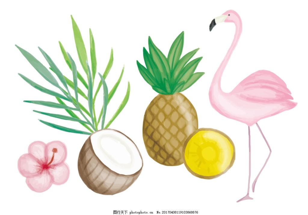 手绘花卉 花卉花朵 红烈鸟 矢量素材 热带树木 凤梨 椰子 手绘叶子