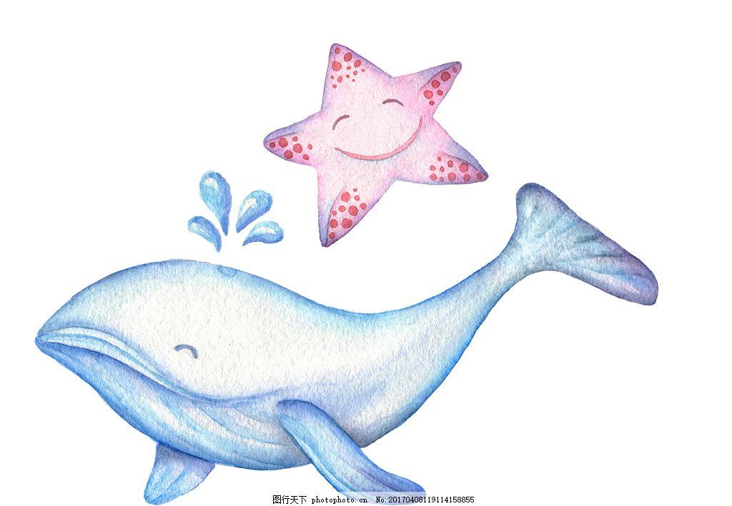 手绘彩铅可爱海洋动物 彩铅海洋动物 手绘海洋动物 手绘动物 彩铅鲸鱼