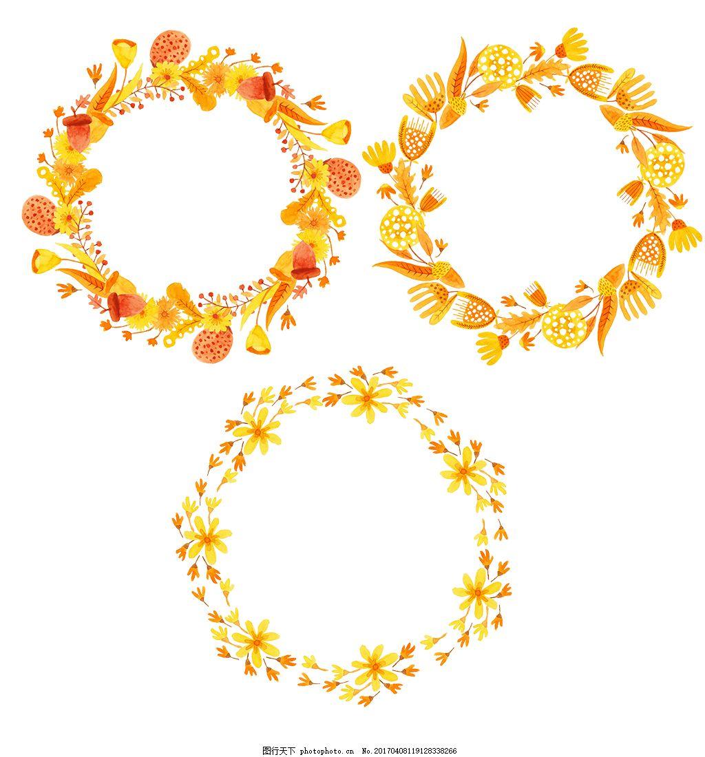 秋季手绘花环素材