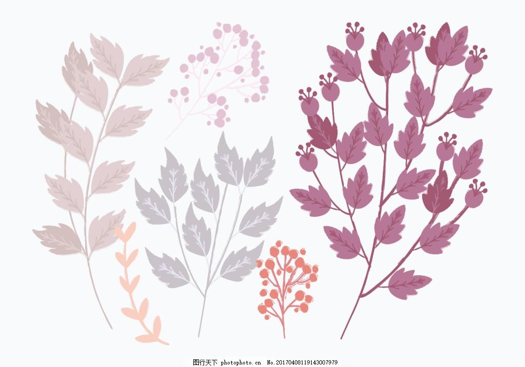彩铅手绘唯美植物素材