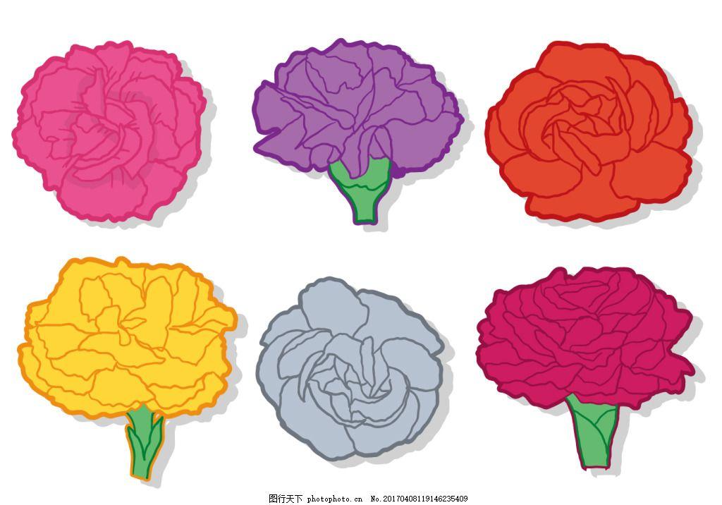 扁平化手绘康乃馨 唯美 手绘花朵 花卉花朵 手绘花卉 矢量素材