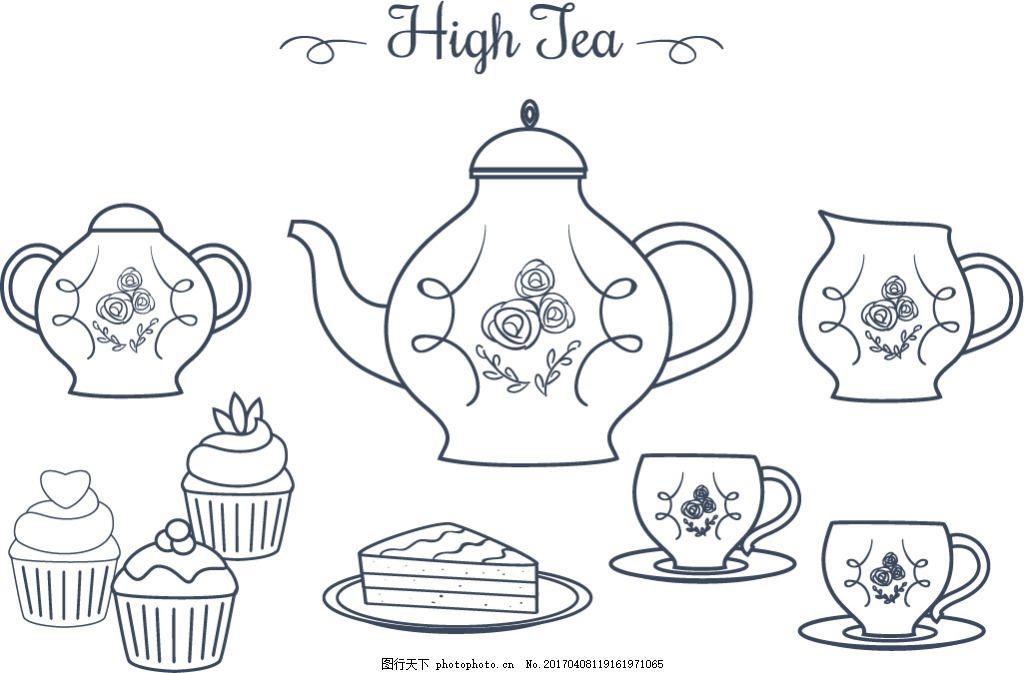手绘线性下午茶茶具 下午茶茶具 茶具 下午茶 手绘茶具 手绘茶杯 杯子