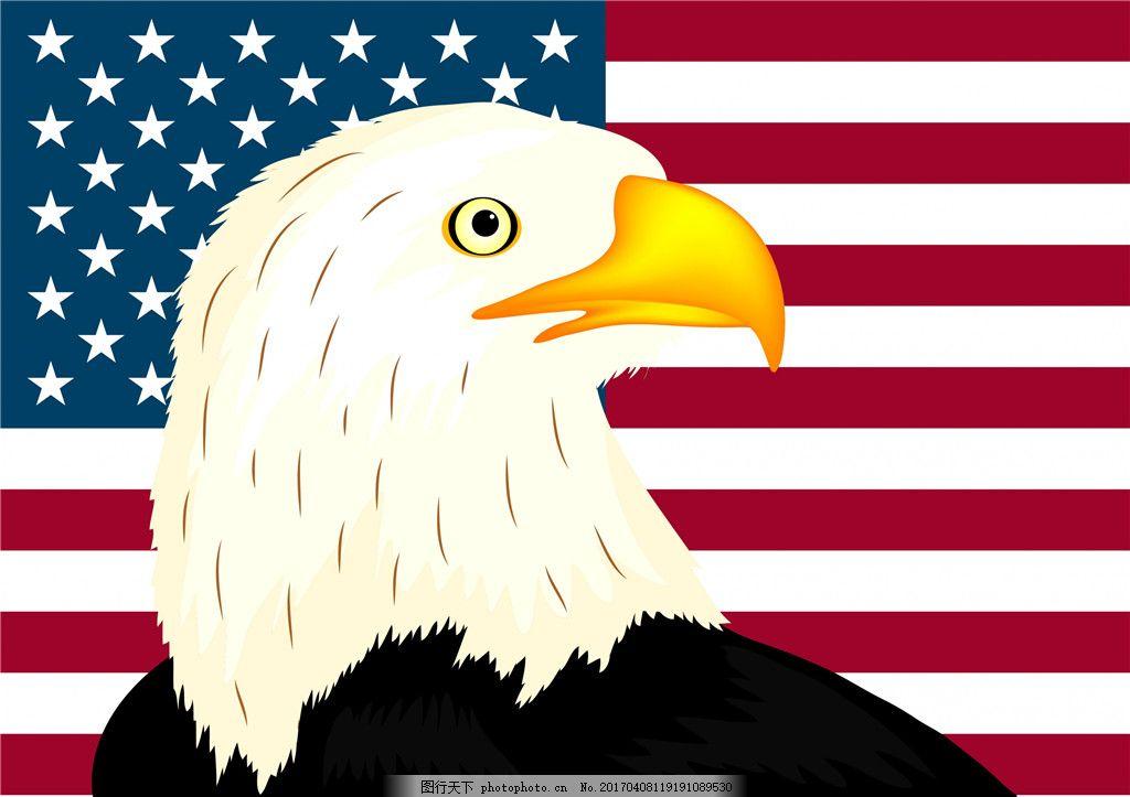 手绘鹰头 鹰头 手绘鹰 鹰 国旗 手绘动物 国旗背景 矢量素材