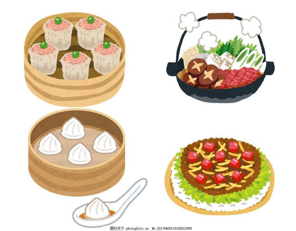 卡通美食食物 食物元素 手绘食物 手绘美食 卡通化 手绘插画 美食插画