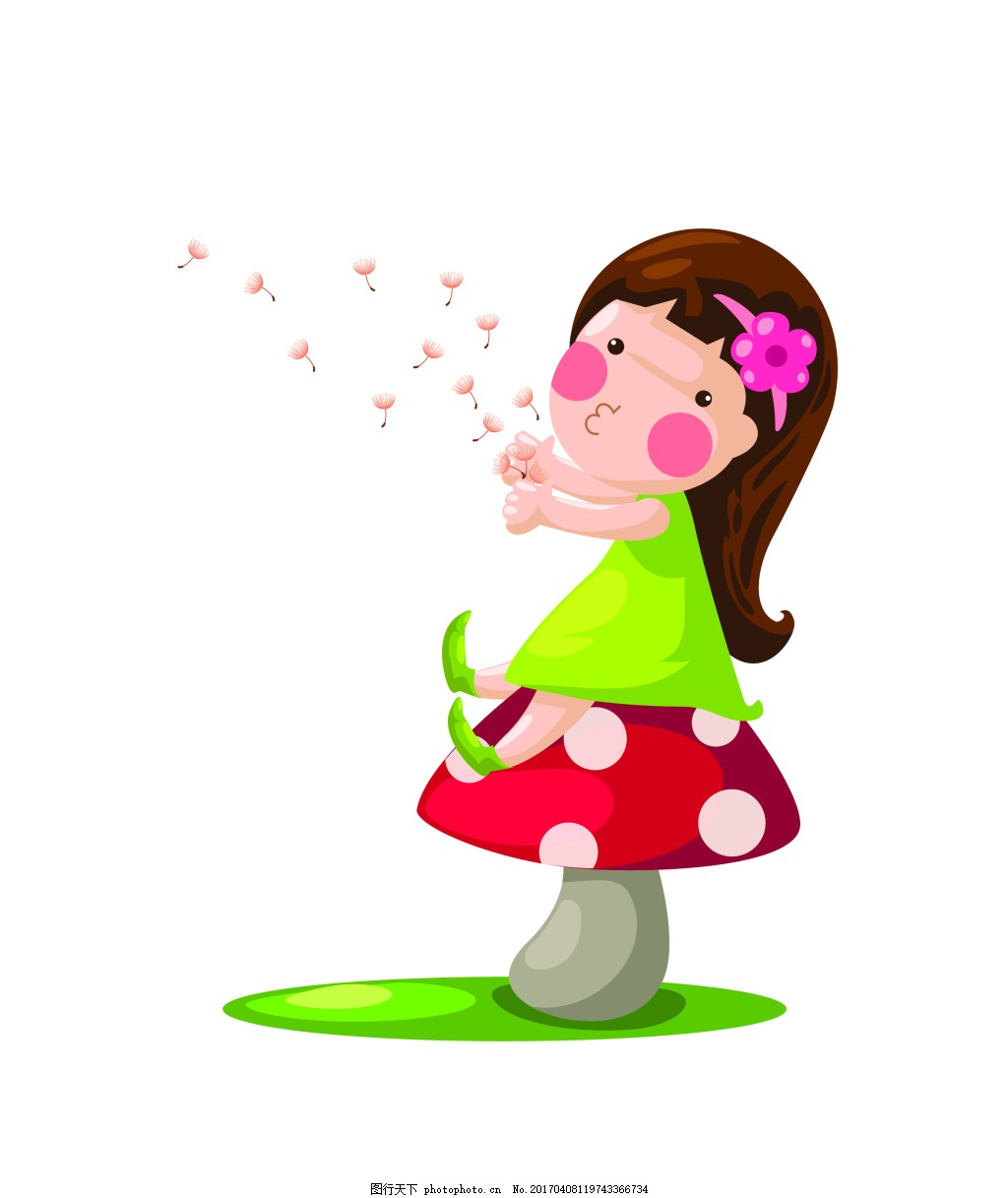 矢量蘑菇小女孩eps 花纹花边 可爱动物 墙贴 墙画 儿童矢量素材